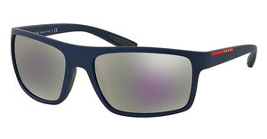 Prada Sport PS 02QS UAX2E2 GREY MIRROR MILKY BLUESHOT BLUE RUBBER