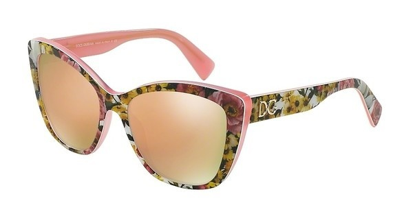 Dolce & Gabbana DG4216 29395R DARK GREY MIRROR PINKTOP BOUQUET ON PINK