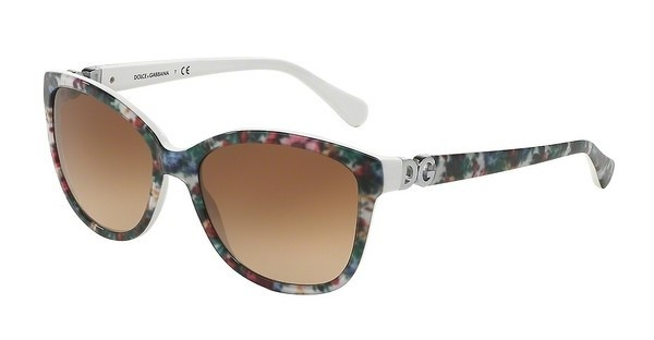 Dolce & Gabbana DG4258 278013 BROWN GRADIENTTOP WHITE FLOWERS ON WHITE